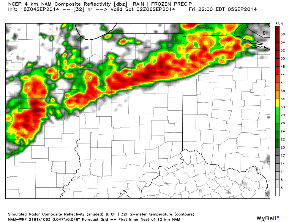 We'll target 7p to midnight for a line of strong to potentially severe storms to move through central Indiana. Folks attending high school football games should monitor radar and weather conditions.
