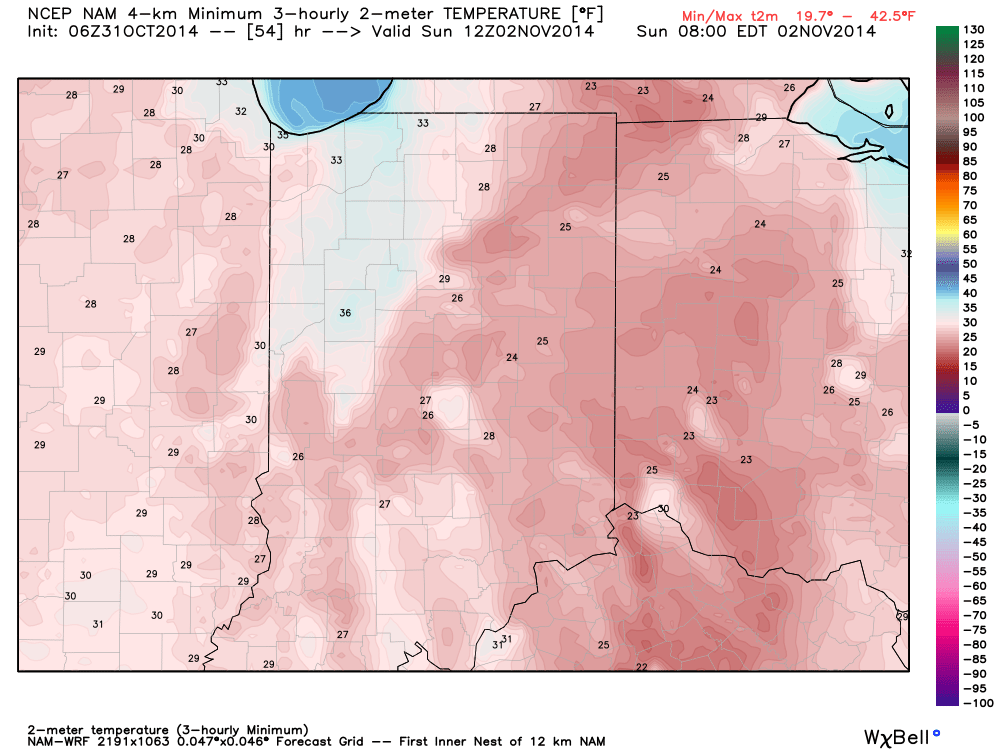 The coldest morning will occur Sunday morning with widespread middle 20s.