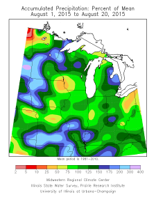 August precipitation departure- month-to-date