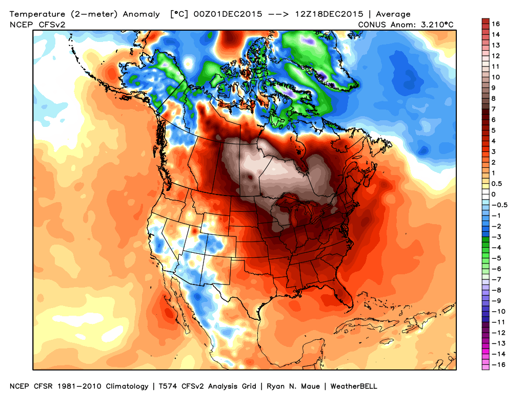 Month-to-date, December has been a warmer than normal month for most of the country. Source: Weatherbell.com