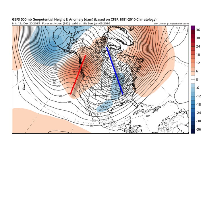 GFS ensembles for early January. Source: Tropicaltidbits.com