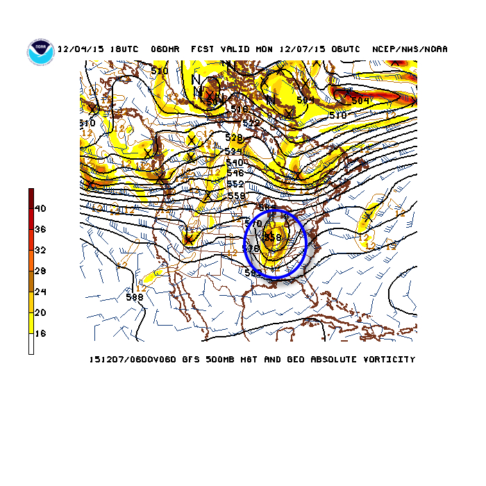 Monday's 500mb chart shows the first of two upper air disturbances set to cross the state. Source: NCEP