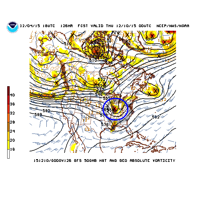 Another upper air disturbance will offer up shower chances Wednesday. Source: NCEP