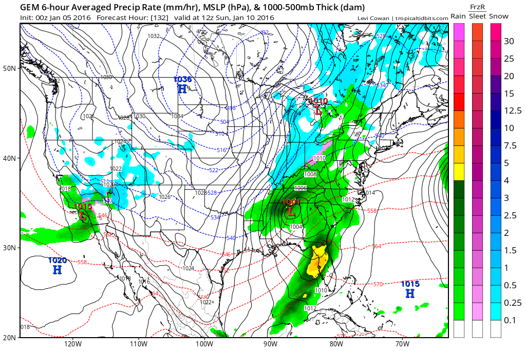 The Canadian is a blend of the GFS and European as it tracks low pressure from eastern LA into the central Appalachians. Source: Tropicaltidbits.com