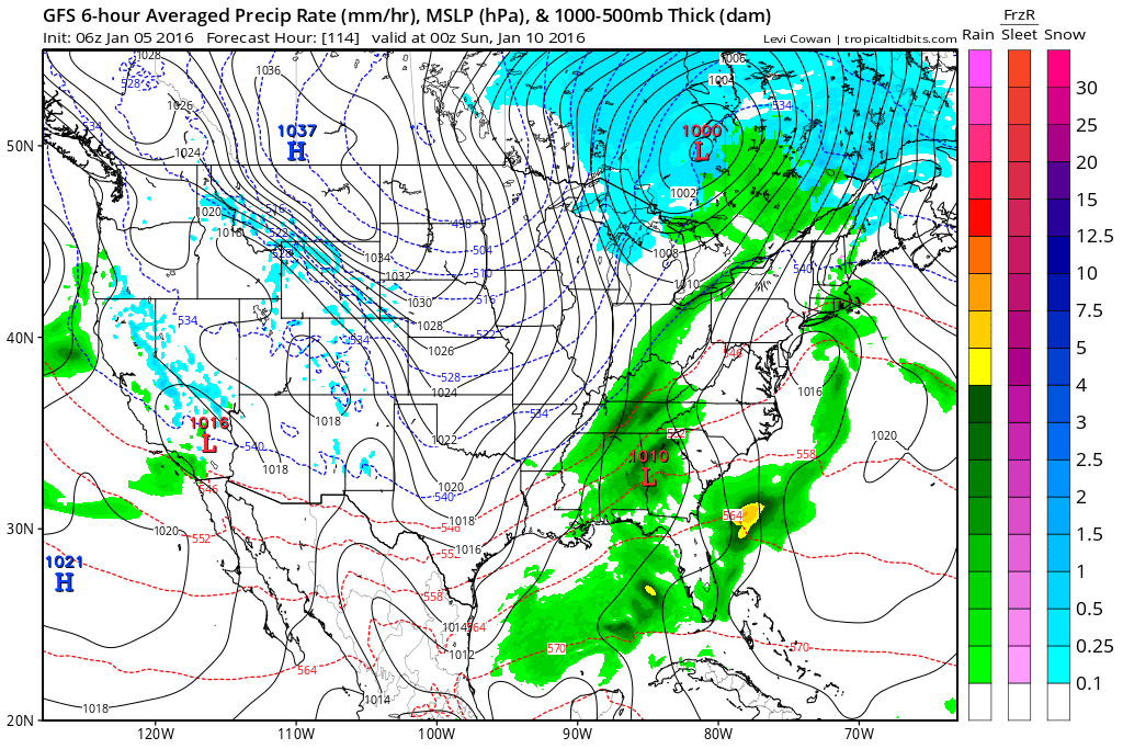 The GFS takes a low from southern AL into the coastal plain of NC. Source: Tropicaltidbits.com