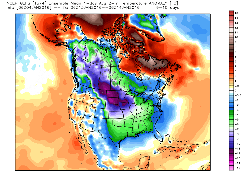 The GFS ensemble is FINALLY coming around to seeing the arctic plunge. Source: Weatherbell.com