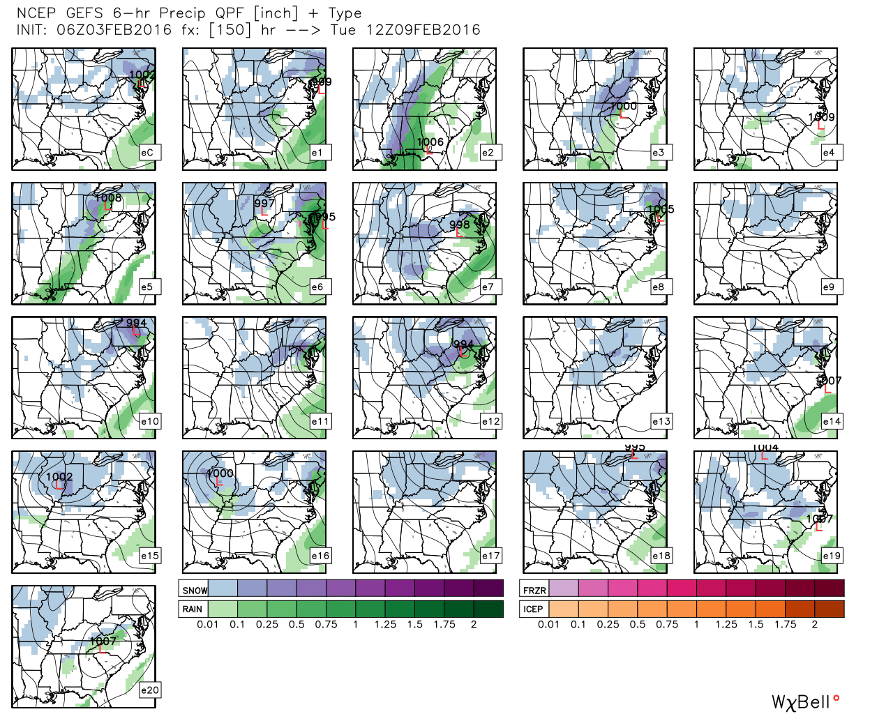 GFS ensembles. Source: Weatherbell.com