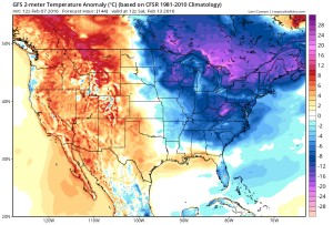 Temperature anomalies next weekend. Source: Tropicaltidbits.com