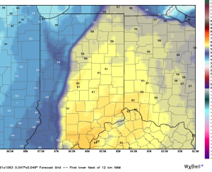 Dew points will climb into the lower 60s by evening.
