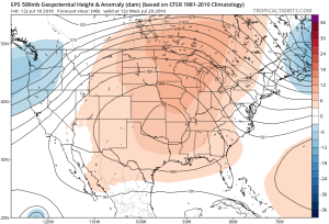 Hot dome will provide a couple days of highs in the middle 90s Friday-Saturday. Image courtesy of Tropicaltidbits