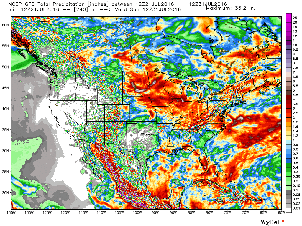 10-Day GFS rainfall numbers are impressive across the Mid West. Soaking rains for many. Courtesy Weatherbell.com