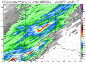 Storm total rainfall should be around half an inch for most.