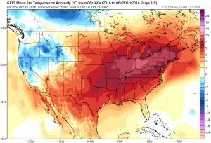 The warmest temperature anomalies will be located over the Ohio Valley this week. Courtesy of Tropicaltidbits.com