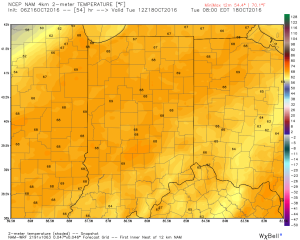Overnight lows Tuesday morning will be close to 70 degrees. Courtesy of Weatherbell.com