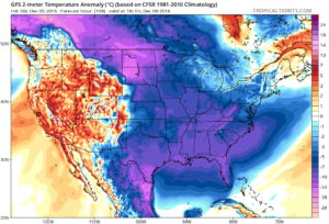 Forecast temperature anomalies to close the work week.